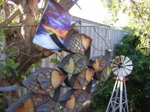 salv art fish windmill small